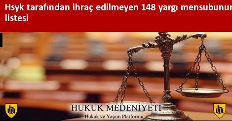 Hsyk tarafından ihraç edilmeyen 148 yargı mensubunun listesi
