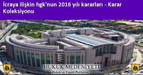İcraya ilişkin HGK'nun 2016 yılı kararları Koleksiyonu