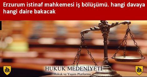 Erzurum istinaf mahkemesi iş bölüşümü. hangi davaya hangi daire bakacak
